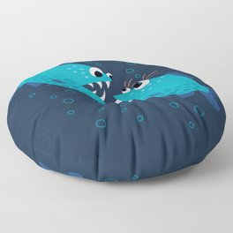 Gossiping Blue Piranha Fish Floor Pillow