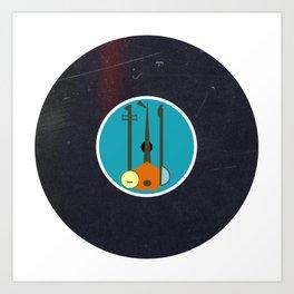 Vinyl Record Mid-Century Modern Music Instruments Art Print