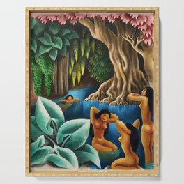 Bathing in the River by Miguel Covarrubias Serving Tray