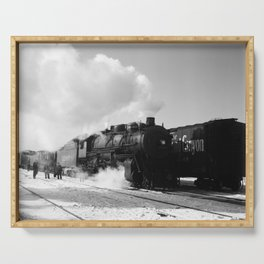 Santa Fe Freight Train Leaving Chicago - 1943 Serving Tray