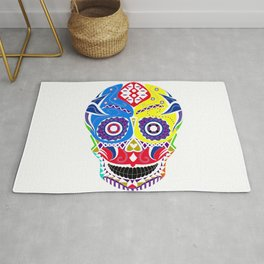 skull in candy pattern with death smile ecopop Rug