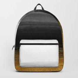 Black and Gold grunge stripes on clear white backround I - Stripes - Striped Backpack
