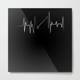 Fencing ECG Heart Line Metal Print