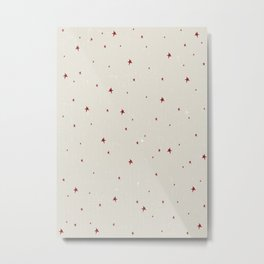 Creamy Christmas Stars Pattern Metal Print