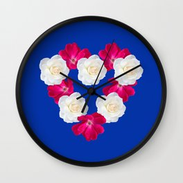 Rose Heart Electric Blue Wall Clock