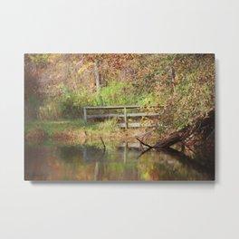 Bridge Over Oak Creek Pond Metal Print