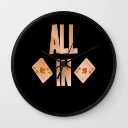 Poker ALL IN Karten Pik Texas Holdem Wall Clock