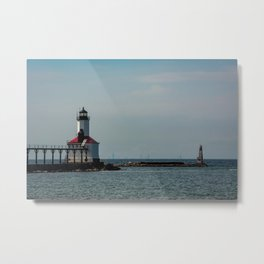 Chicago Skyline as seen from Michigan City Indiana with Lighthouse in Foreground Metal Print