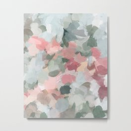 Blue Sage Green Coral Pink Tropical Flowers in the Wind Abstract Nature Ocean Painting Art Print Wall Decor  Metal Print
