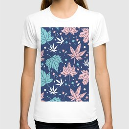 Pink and blue-green Japanese maple leaves pattern T-shirt