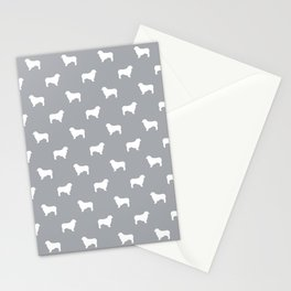 Australian Shepherd silhouette grey and white dog breed pattern simple minimal dog gifts Stationery Cards