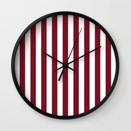 Deep Dark Red Pear and White Beach Hut Stripe Wall Clock