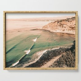 California Pacific Coast Highway // Vintage Waves Crashing on the Beach Teal Ocean Water Serving Tray