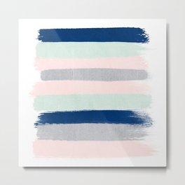 Minimal stripes painted stripe basic nursery home decor navy mint pastel pink Metal Print
