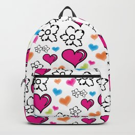 Pink Hearts and Flowers Backpack
