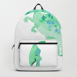 Green dino | Watercolor children illustration Backpack