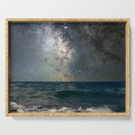 Milky Way Over The Sea Serving Tray