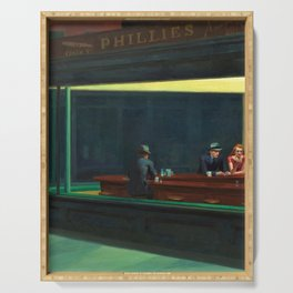 NIGHTHAWKS downtown diner late at night iconic cityscape oil on canvas painting by Edward Hopper Serving Tray