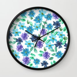 Watercolor cornflower, forget-me-not, rose green leaves Seamless pattern on white background Wall Clock