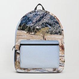 Flatirons Boulder // Colorado Scenery Mountain Landscape Snowfall Fence Line Backpack