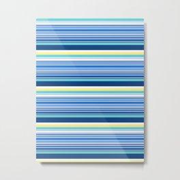 65 MCMLXV Blue Tonal Retro Stripe Pattern Metal Print