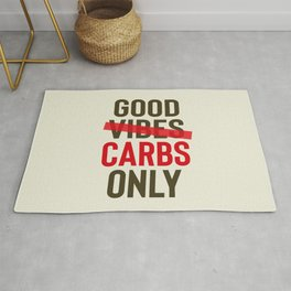 Good carbs only, positive vibes, food quote, funny sentence, pasta, restaurant wall art, retro Pub Rug
