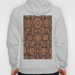 Floral Medallion I // 18th Century Colorful Blue Lime Green Pink Sapphire Plum Burlap Brown Pattern Hoody