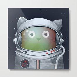 Cat Astronaut Metal Print