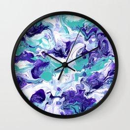 Purple and Aqua Jazz - Abstract Acrylic Painting Wall Clock