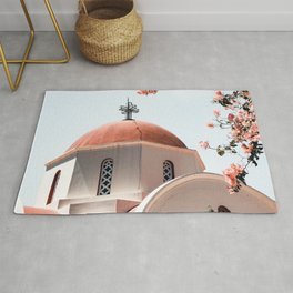Summer In Greece Art Print | Pink Flowers Photo | Crete Island Holiday | Europe Travel Photography Rug