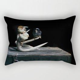 Three Chicks on Antlers Rectangular Pillow