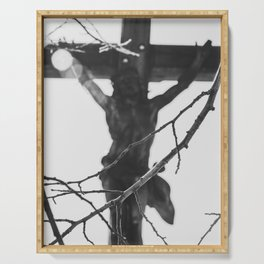 Passion of Jesus, Black and White, Christ Crucified, Catholic Art  Serving Tray