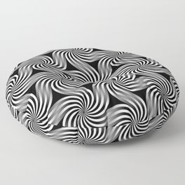 Hexagon Swirls Black & White Floor Pillow