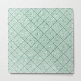 Faux Velvet Diamond Crisscross in Pale Green Metal Print