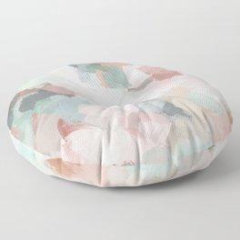 Blush Pink Mint Green Blue Coral Peach Abstract Flower Wall Art Springtime Painting Modern Wall Art Floor Pillow