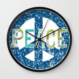 Peace Mixed Media Textile Graphic Design Wall Clock