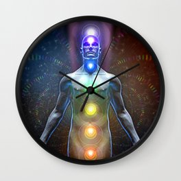 Kundalini Rising, Energy Meditation Chakra Expansion Nirvana Enlightenment Wall Clock
