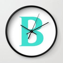 B MONOGRAM (TURQUOISE & WHITE) Wall Clock