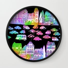 Colorful Town Wall Clock