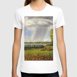 Rainbow, Spring Harvest, and Rain over Madison landscape painting by John Steuart Curry T-shirt