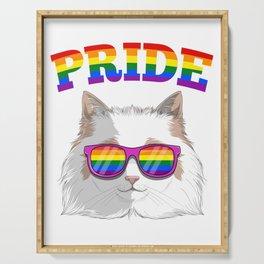 Gay Pride Ragdoll Cat with LGBT Rainbow Sunglasses Serving Tray