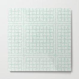 Nappy Faux Velvet Framed Weave in Pastel Green Reversed Metal Print