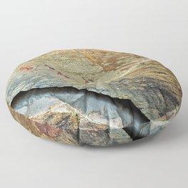 African Prehistoric Rock Art Painting Hunters Floor Pillow
