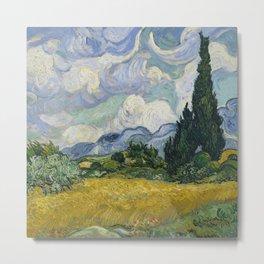 Fun Neck Gaiter Vincent Van Gogh A Wheatfield With Cypresses Neck Gator Metal Print