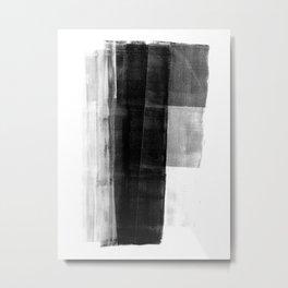 Monolith - Black and White Minimalist Abstract Monotype Metal Print