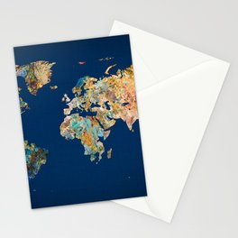 World Map 11 Stationery Cards