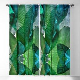 Palm leaf jungle Bali banana palm frond greens Blackout Curtain