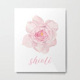 Pink Wabara Shioli Rose Watercolour Painting Metal Print