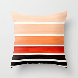 Burnt Sienna Minimalist Mid Century Modern Color Fields Ombre Watercolor Staggered Squares Throw Pillow