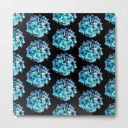 Green Blue Hydrangea Pattern Metal Print